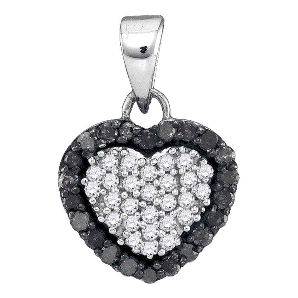 10kt White Gold Womens Round Black Color Enhanced Diamond Heart Love Pendant 1/3 Cttw