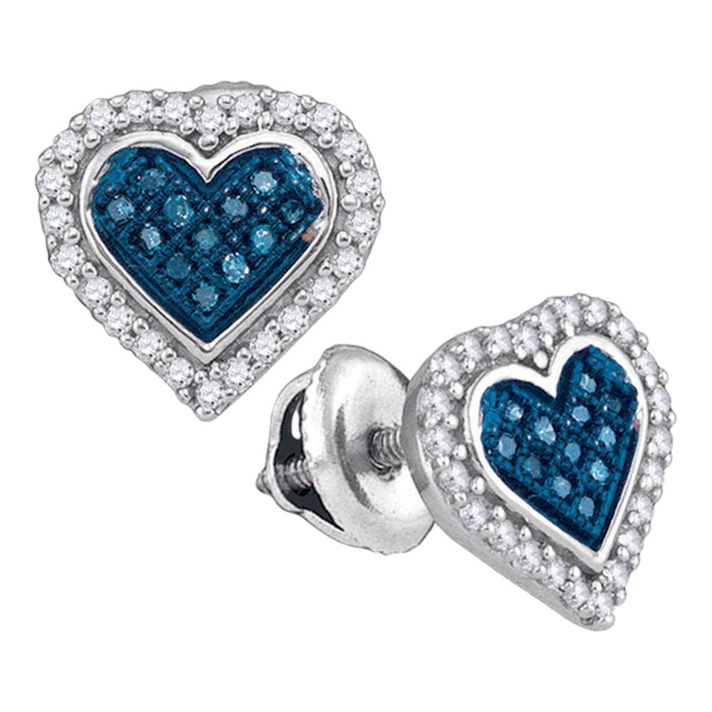 10kt White Gold Womens Round Blue Color Enhanced Diamond Heart Love Stud Screwback Earrings 1/4 Cttw