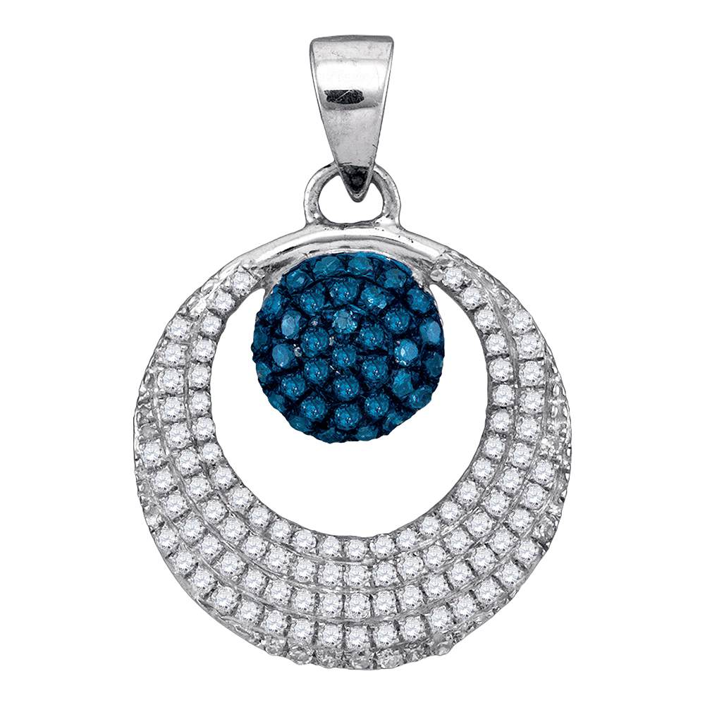 10kt White Gold Womens Round Blue Color Enhanced Diamond Cluster Circle Pendant 3/8 Cttw