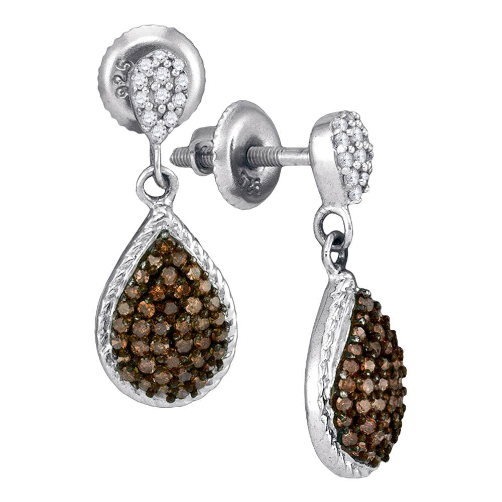 10kt White Gold Womens Round Cognac-brown Color Enhanced Diamond Teardrop Dangle Earrings 1/2 Cttw
