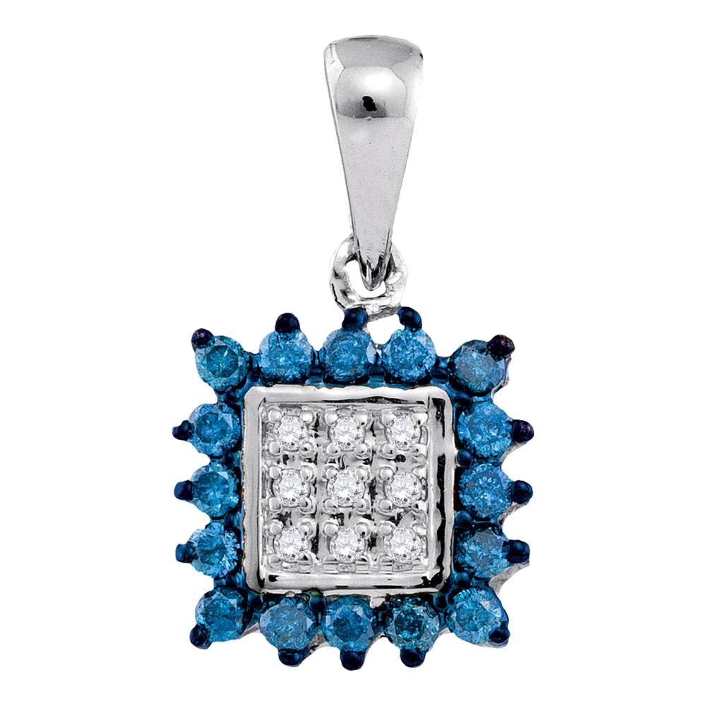 10kt White Gold Womens Round Blue Color Enhanced Diamond Square Cluster Pendant 1/3 Cttw