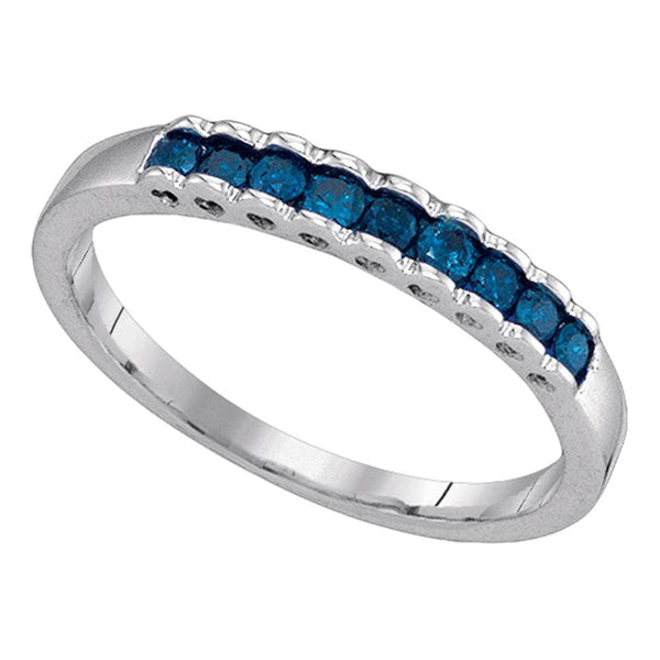 10kt White Gold Womens Princess Blue Color Enhanced Diamond Ribbed Band Ring 1/4 Cttw