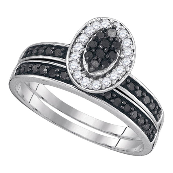 Sterling Silver Womens Black Color Enhanced Diamond Cluster Bridal Wedding Engagement Ring Band Set 1/2 Cttw
