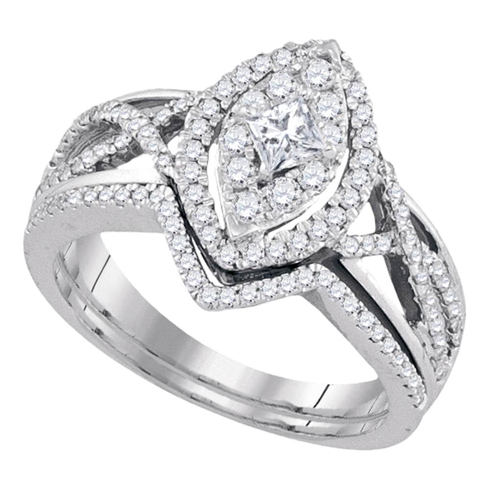 14kt White Gold Womens Princess Diamond Oval Bridal Wedding Engagement Ring Band Set 7/8 Cttw