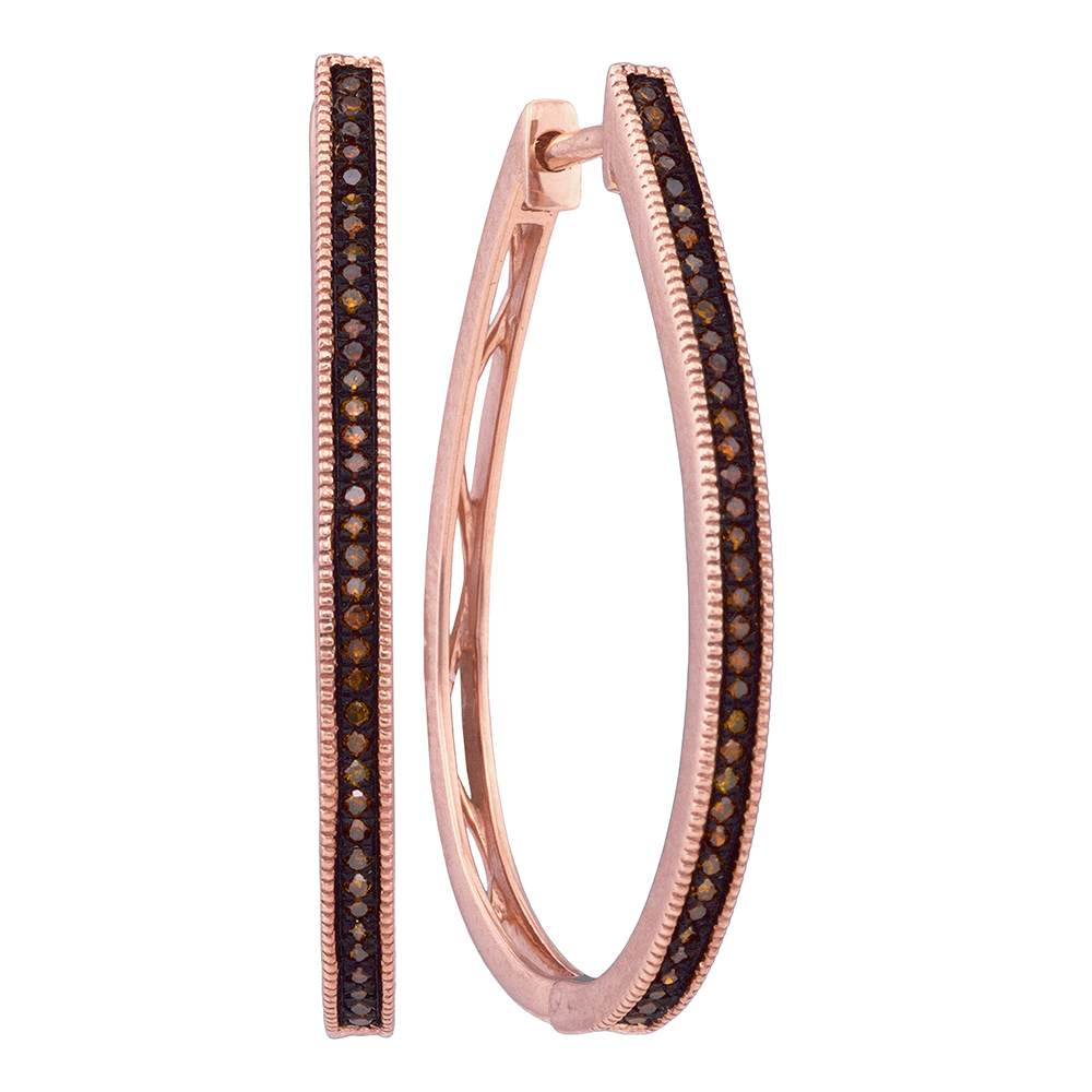 10k Pink Rose Gold Red Color Enhanced Diamond Womens Slender Large Unique Hoop Earrings 1/4 Cttw