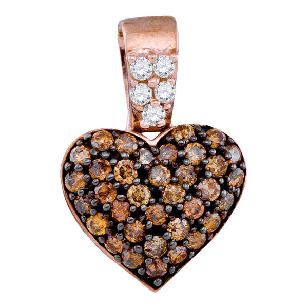 10k Rose Gold Cognac-brown Color Enhanced Round Cluster Diamond Womens Heart Pendant 3/8 Cttw