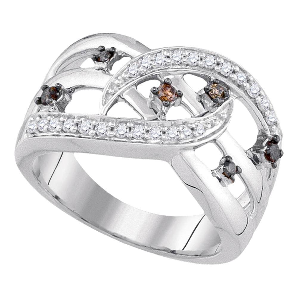 10kt White Gold Womens Round Cognac-brown Color Enhanced Diamond Openwork Crossover Strand Band 1/3 Cttw