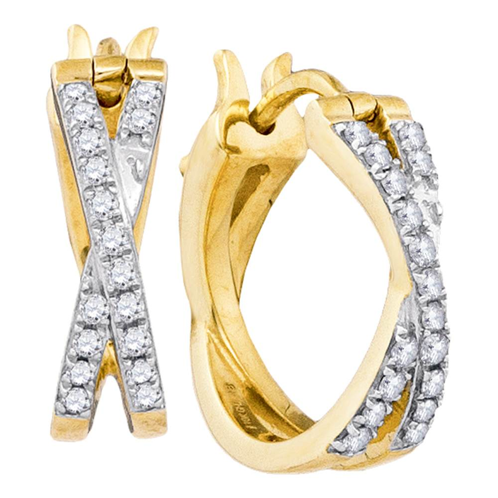 10kt Yellow Gold Womens Round Pave-set Diamond Double Row Crossover Hoop Earrings 3/8 Cttw