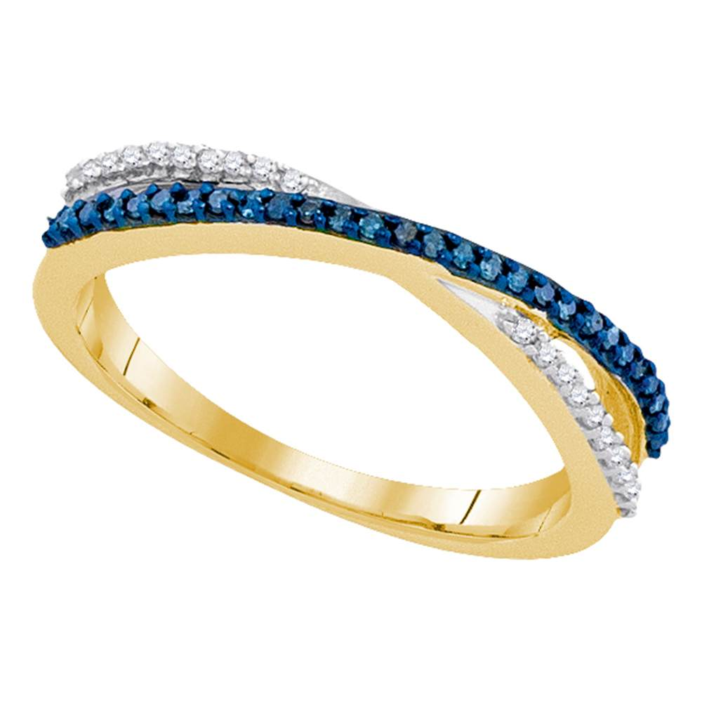 10kt Yellow Gold Womens Round Blue Color Enhanced Diamond Slender Crossover Band 1/6 Cttw