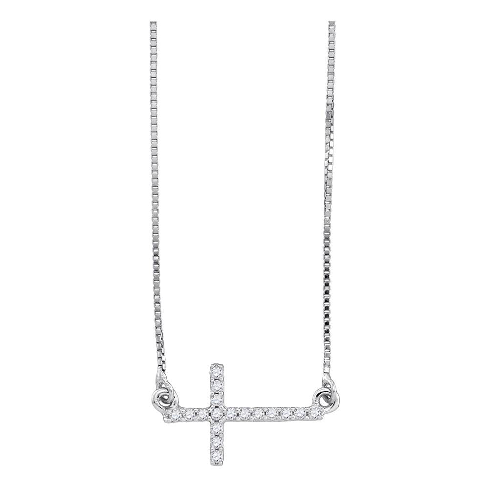 10kt White Gold Womens Round Diamond Cross Pendant Necklace Chain 1/10 Cttw