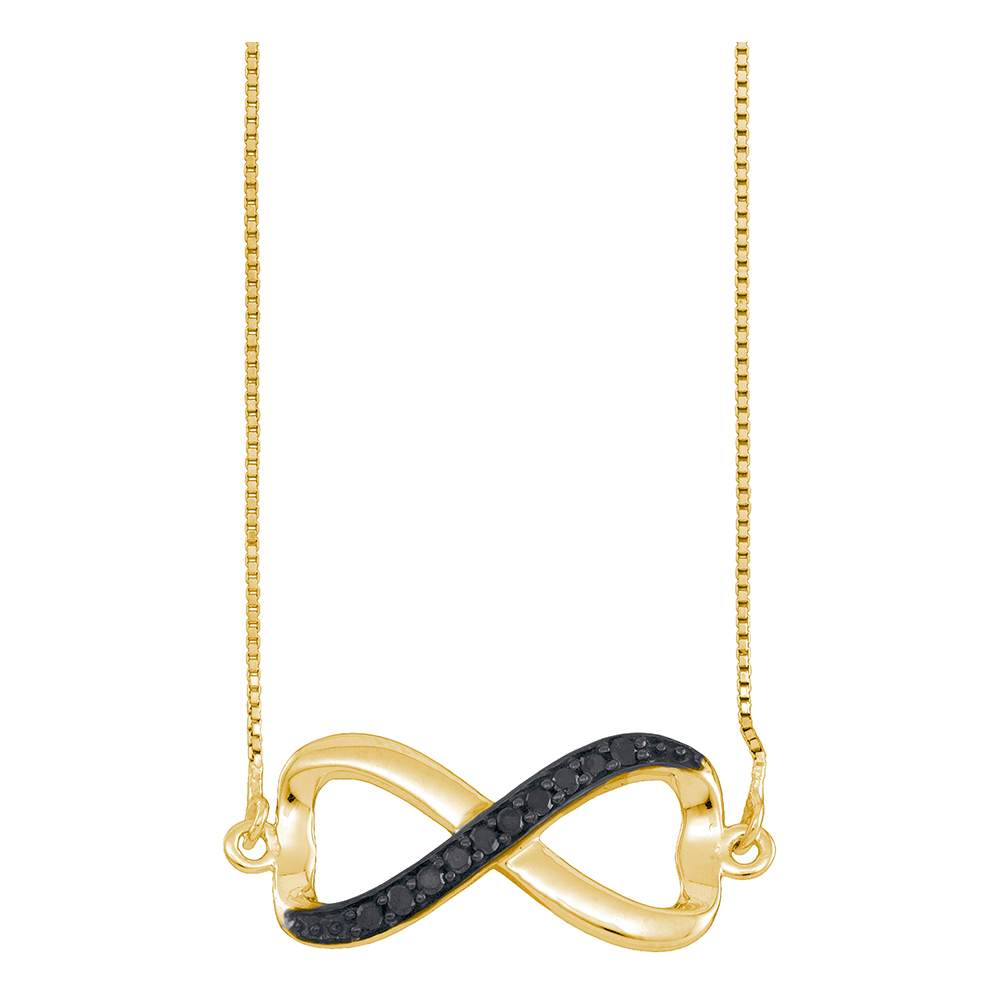 10k Yellow Gold Black Color Enhanced Diamond Infinity Love Anniversary Pendant Necklace 1/10 Cttw