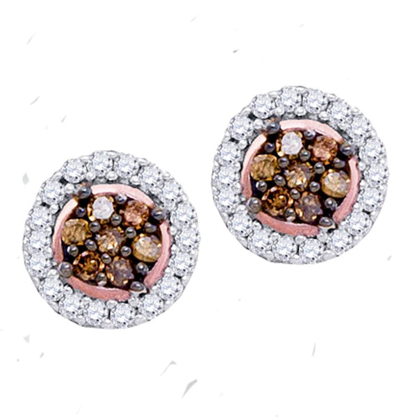 10k Rose Gold Womens Cognac-brown Color Enhanced Diamond Flower Cluster Screwback Stud Earrings 1/4 Cttw