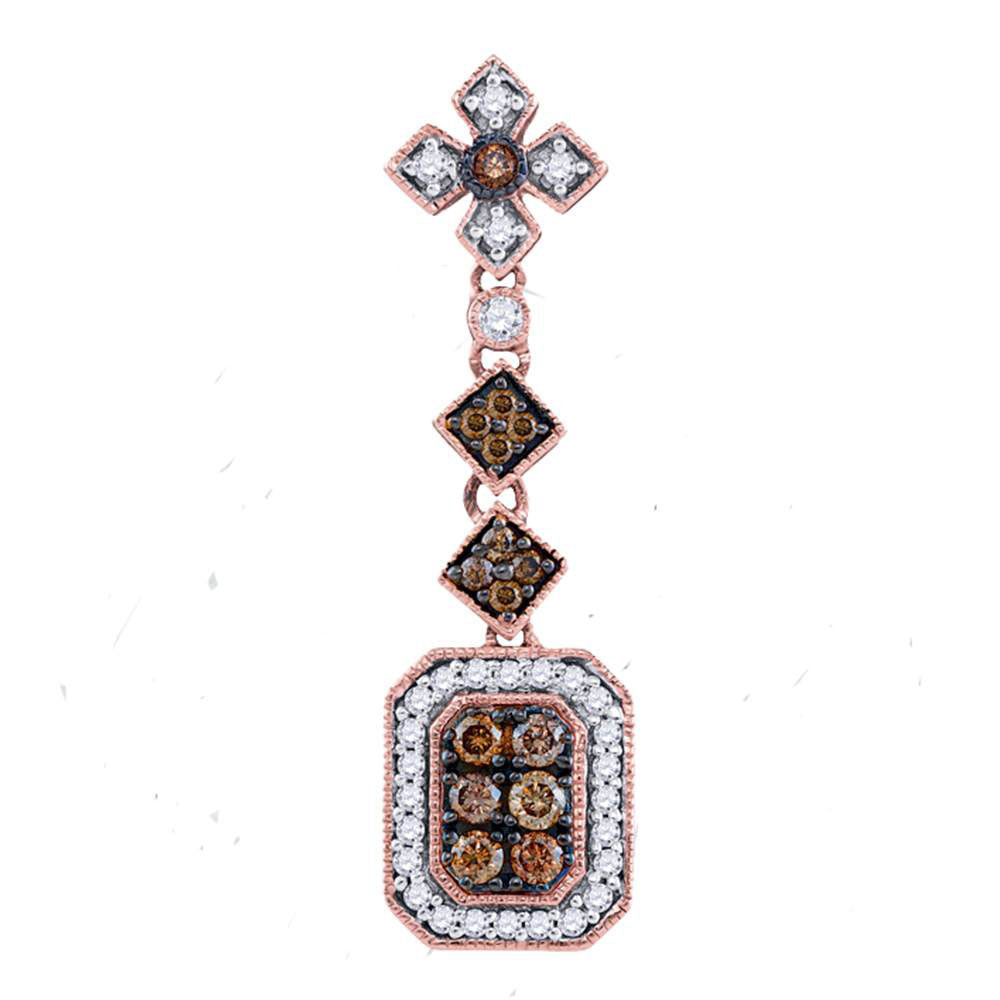 14kt Rose Gold Womens Round Brown Diamond Fashion Pendant 1/2 Cttw