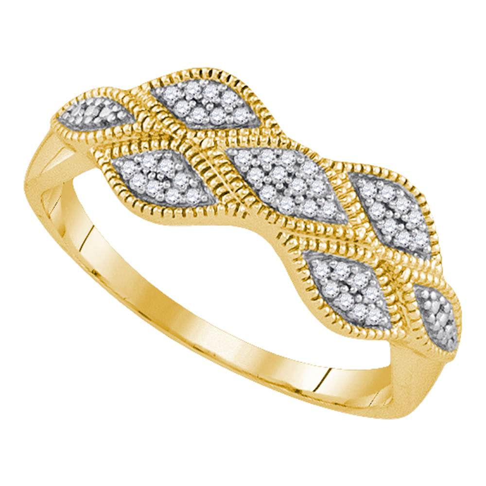 10kt Yellow Gold Womens Round Diamond Cluster Milgrain Band Ring 1/10 Cttw