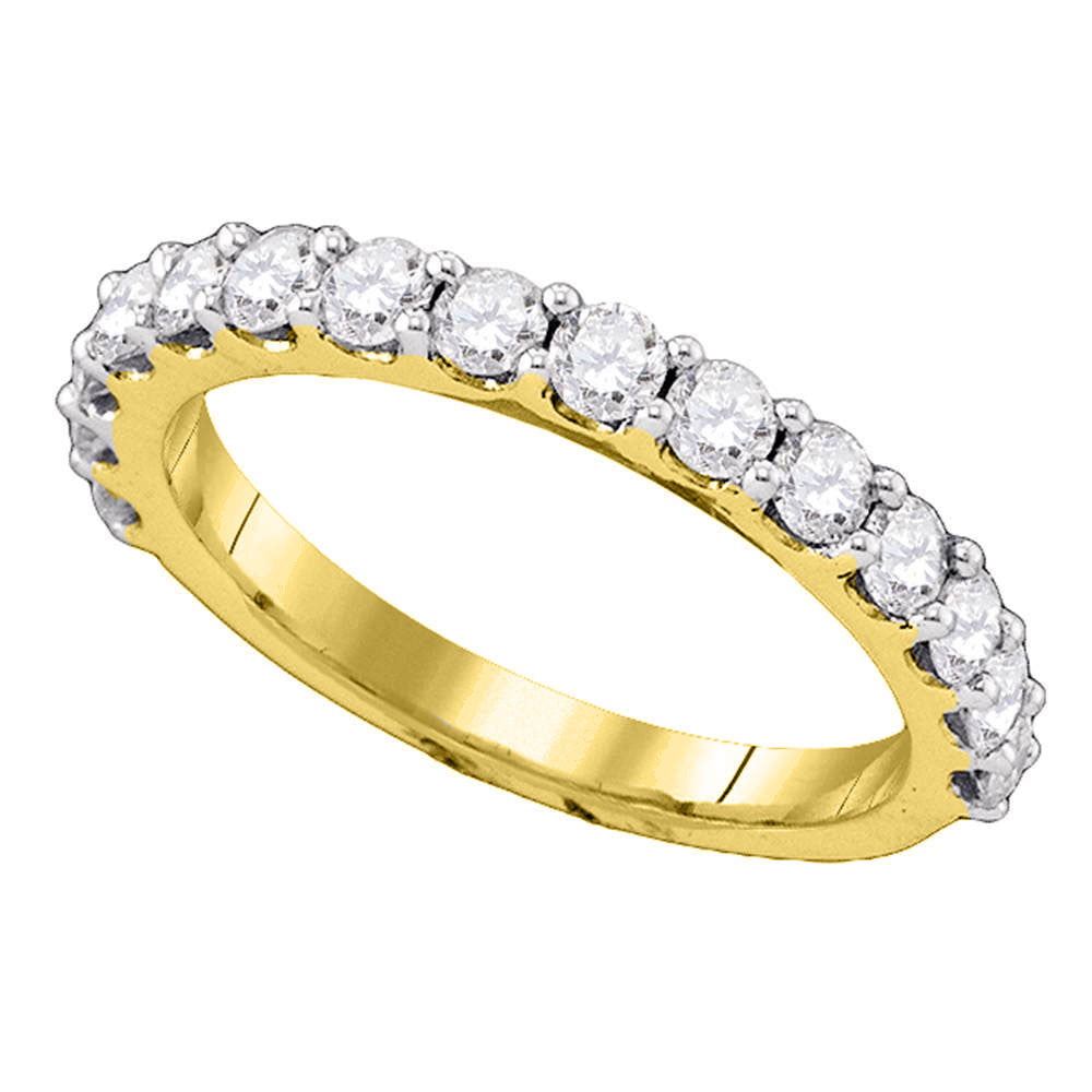14kt Yellow Gold Womens Round Pave-set Diamond Single Row Wedding Band 1.00