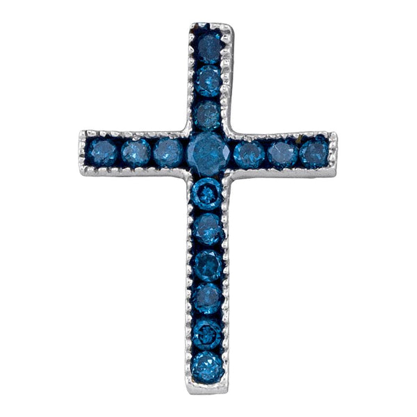 10kt White Gold Womens Round Blue Color Enhanced Diamond Small Cross Pendant 1/6 Cttw