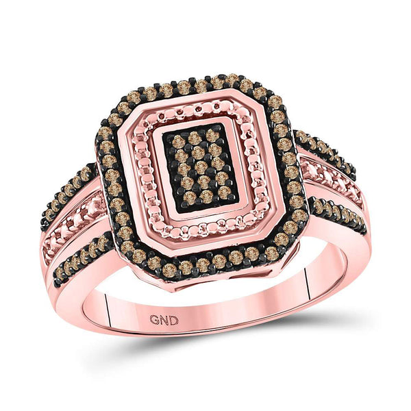 10kt Rose Gold Womens Round Red Color Enhanced Diamond Octagon Cluster Ring 1/3 Cttw