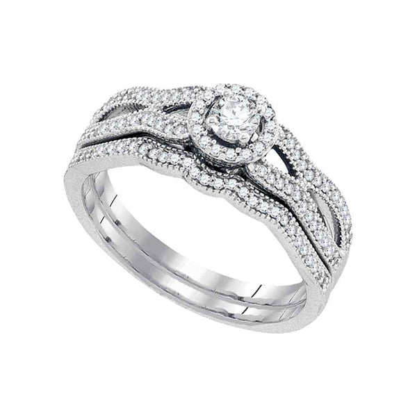 10kt White Gold Womens Round Diamond Bridal Wedding Engagement Ring Band Set 3/8 Cttw