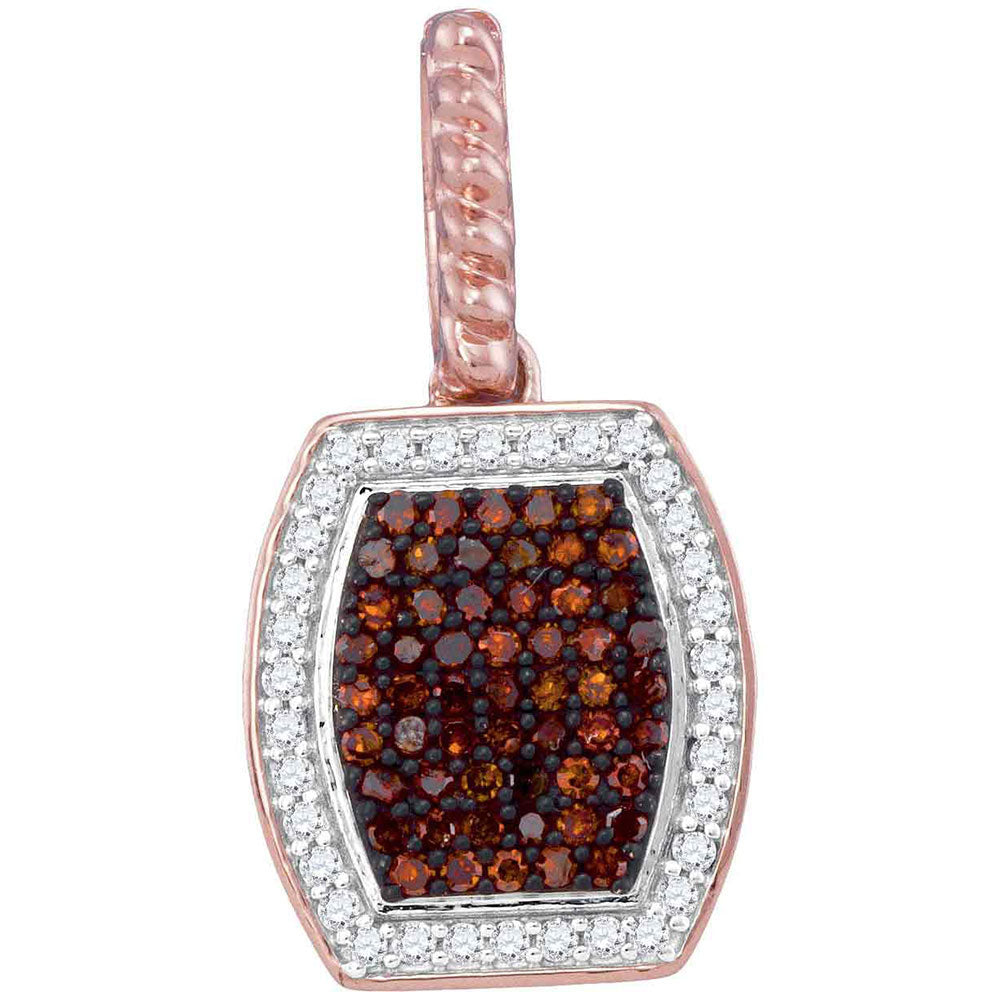 10kt Rose Gold Womens Round Red Color Enhanced Diamond Fashion Pendant 1/4 Cttw