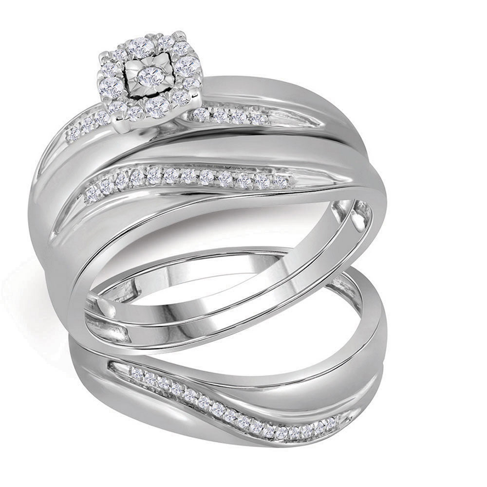 10k White Gold Round Diamond Mens Womens Trio Matching Halo Wedding Bridal Ring Set 1/5 Cttw