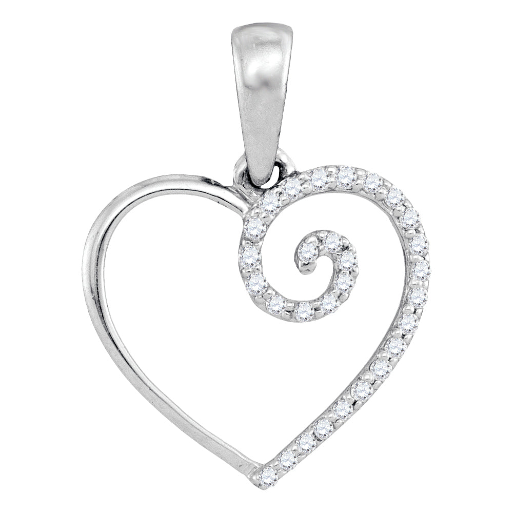 10kt White Gold Womens Round Diamond Clef Heart Pendant 1/10 Cttw