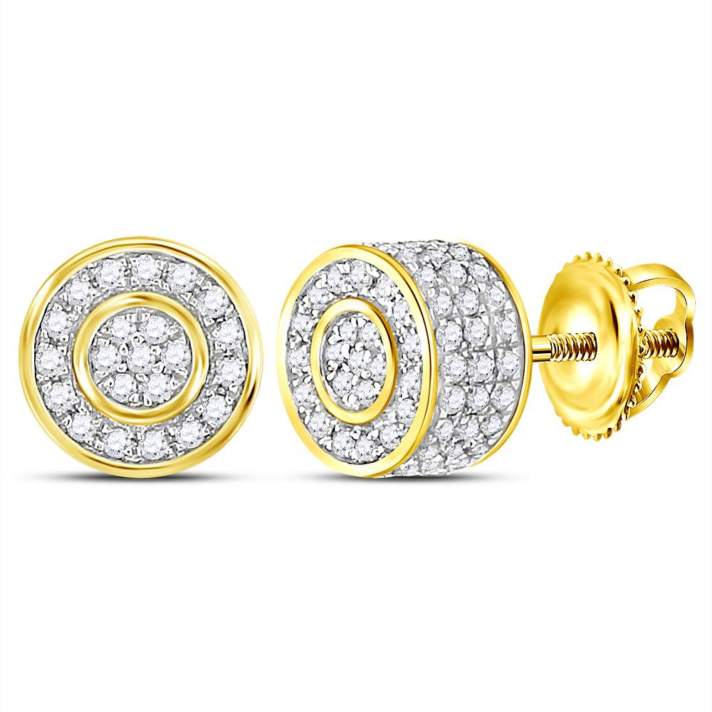 10kt Yellow Gold Womens Round Diamond 3D Circle Cluster Stud Earrings 5/8 Cttw