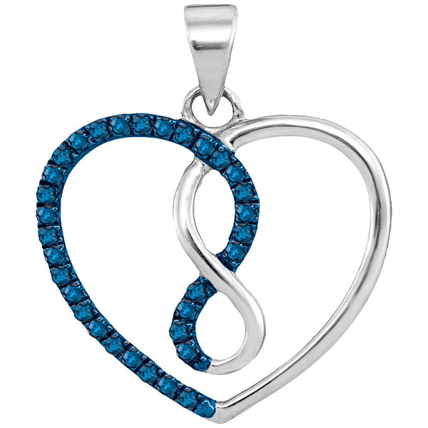 10kt White Gold Womens Round Blue Color Enhanced Diamond Heart Infinity Pendant 1/8 Cttw