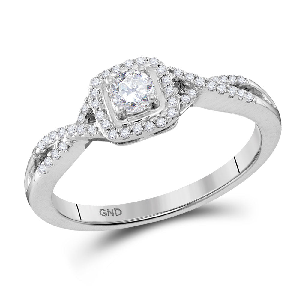 10kt White Gold Womens Round Diamond Solitaire Twist Bridal Wedding Engagement Ring 1/3 Cttw