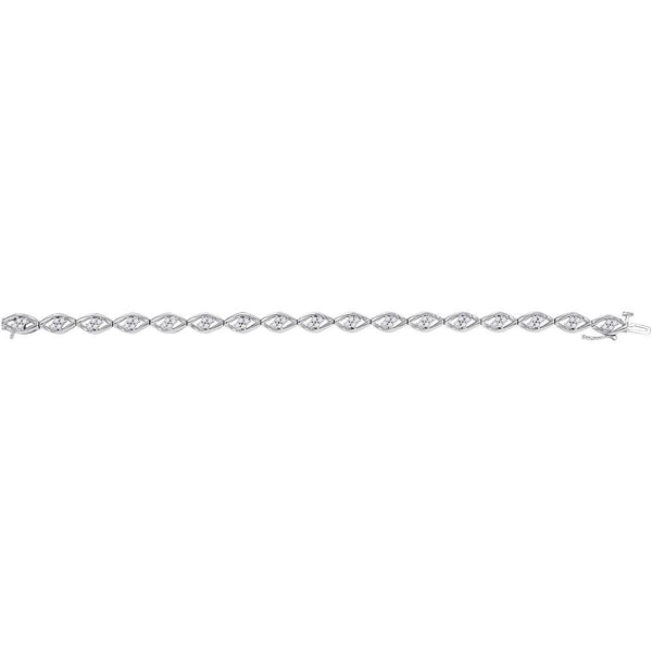 10kt White Gold Womens Round Diamond Fashion Bracelet 1.00 Cttw