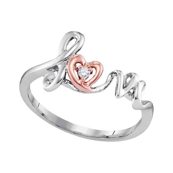 10kt Two-tone Rose Gold Womens Round Diamond Heart Love Ring .02 Cttw