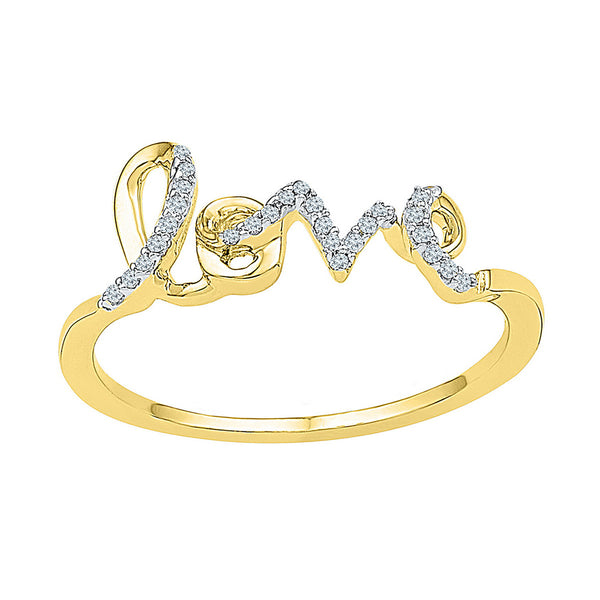 10kt Yellow Gold Womens Round Diamond Love Band Ring 1/12 Cttw