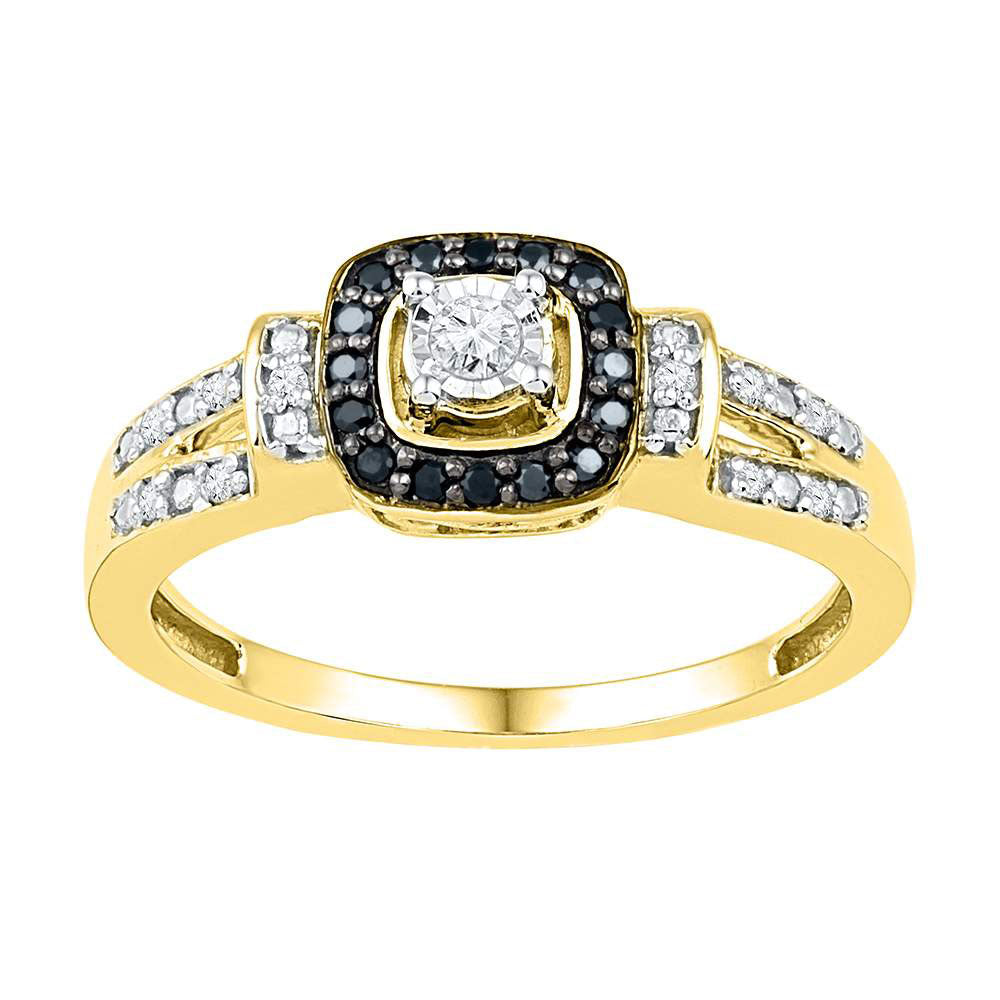 10kt Yellow Gold Womens Round Diamond Solitaire Black Color Enhanced Ring 1/5 Cttw