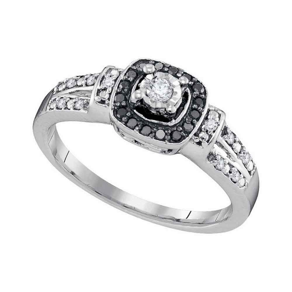 10kt White Gold Womens Round Diamond Solitaire Black Color Enhanced Ring 1/5 Cttw