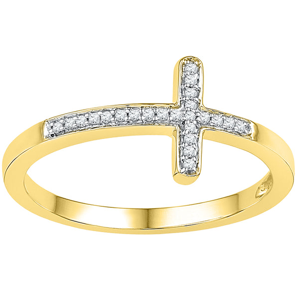 10kt Yellow Gold Womens Round Diamond Cross Religious Band Ring 1/20 Cttw