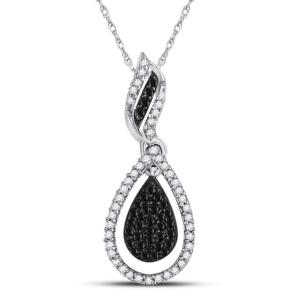 10kt White Gold Womens Round Black Color Enhanced Diamond Teardrop Pendant 1/3 Cttw