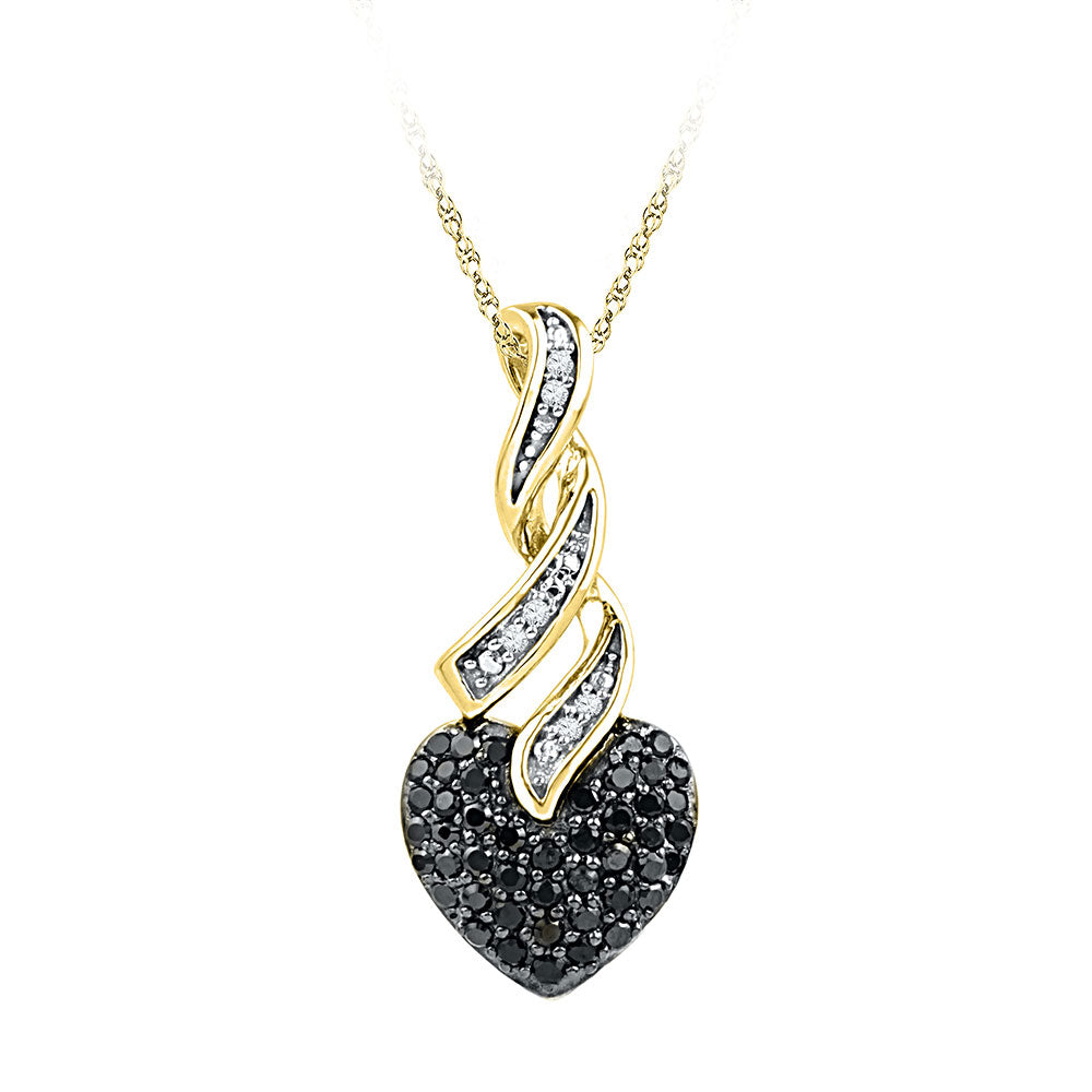 10kt Yellow Gold Womens Round Black Color Enhanced Diamond Heart Pendant 1/3 Cttw