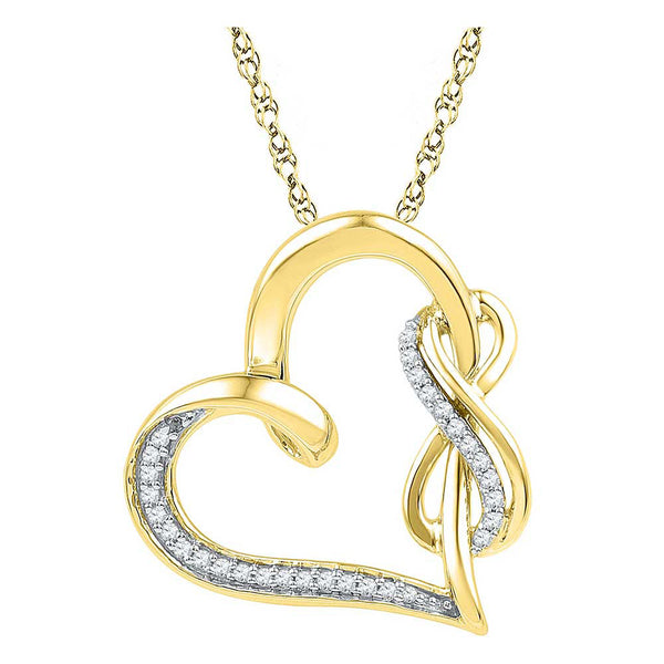 10kt Yellow Gold Womens Round Diamond Linked Heart Infinity Pendant 1/8 Cttw