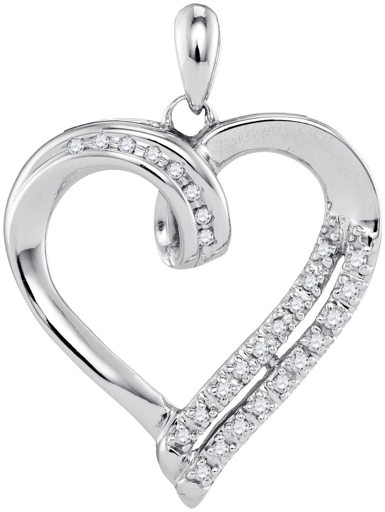 10kt White Gold Womens Round Diamond Heart Pendant 1/10 Cttw