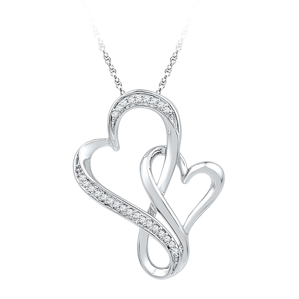 10kt White Gold Womens Round Diamond Double Entwined Heart Pendant 1/10 Cttw