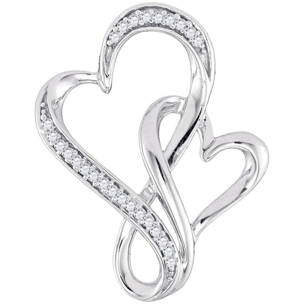 Sterling Silver Womens Round Diamond Double Linked Heart Pendant 1/10 Cttw