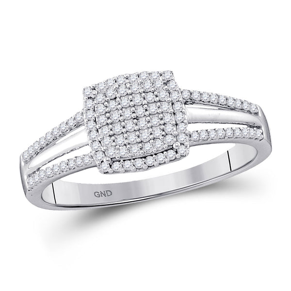 10kt White Gold Womens Round Diamond Square Cluster Bridal Wedding Engagement Ring 1/4 Cttw