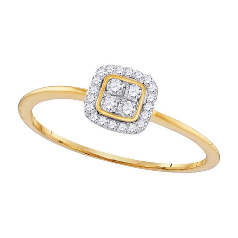 10kt Yellow Gold Womens Round Diamond Square Frame Cluster Ring 1/8 Cttw