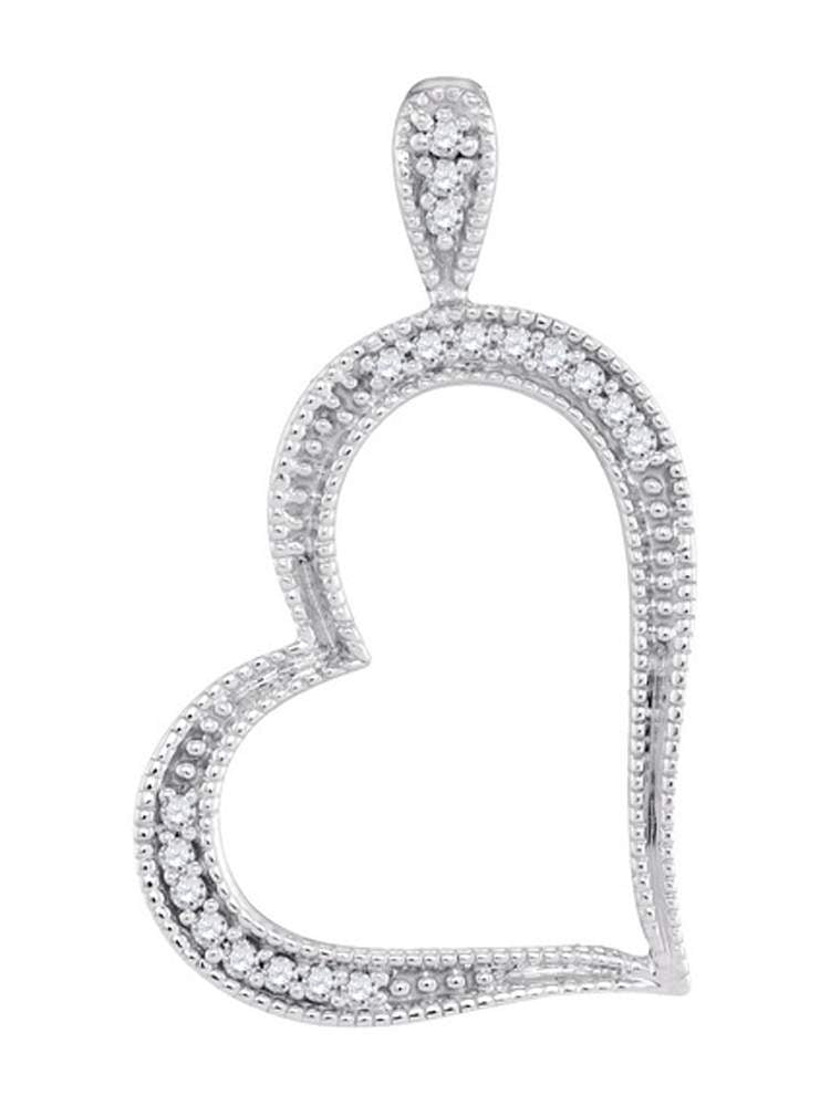10kt White Gold Womens Round Diamond Milgrain Open-center Heart Pendant 1/20 Cttw