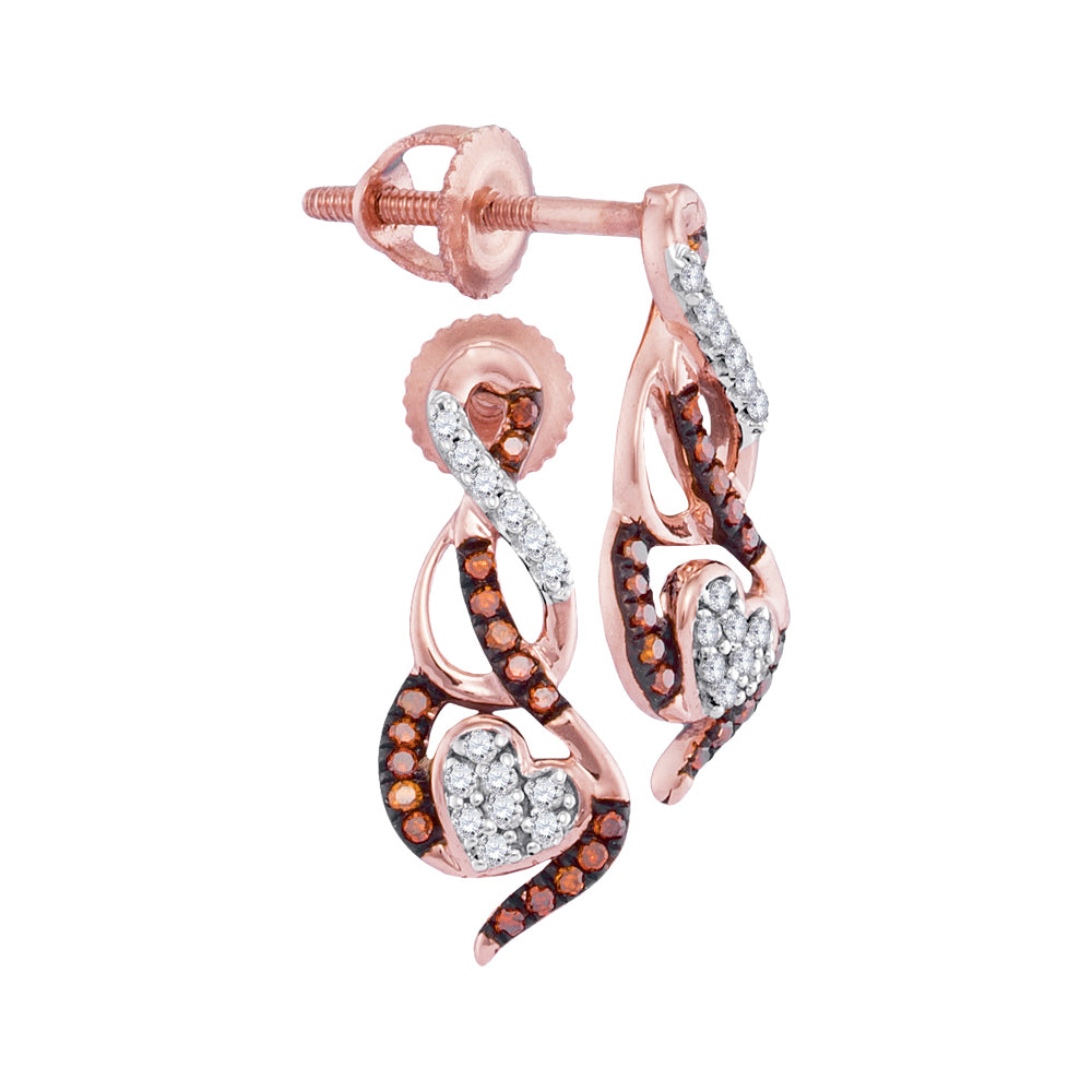 10kt Rose Gold Womens Round Red Color Enhanced Diamond Heart Earrings 1/6 Cttw