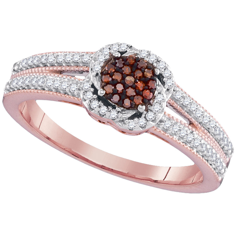 10kt Rose Gold Womens Round Red Color Enhanced Diamond Cluster Ring 1/4 Cttw