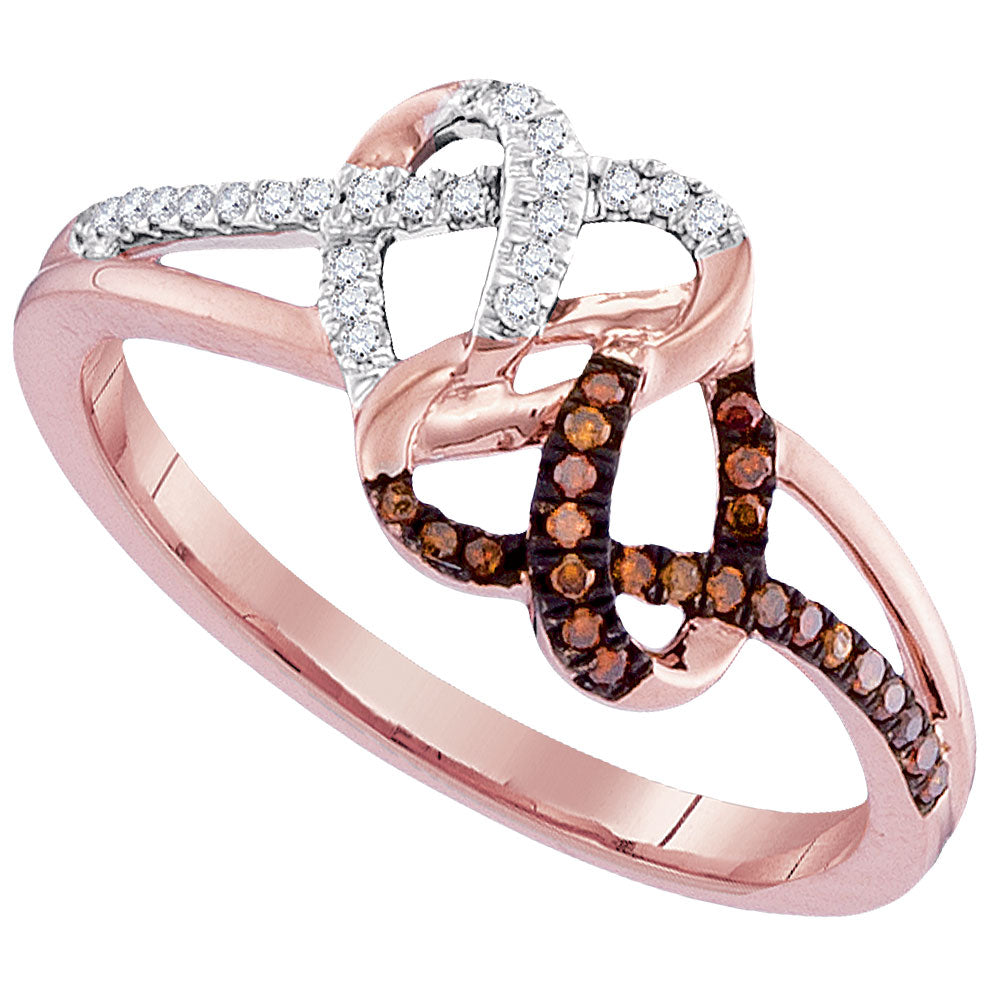 10kt Rose Gold Womens Round Red Color Enhanced Diamond Double Heart Ring 1/6 Cttw