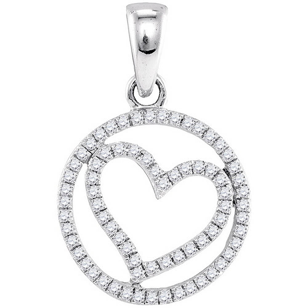 10k White Gold Round Diamond Womens Circular Captured Heart Circle Pendant 1/4 Cttw