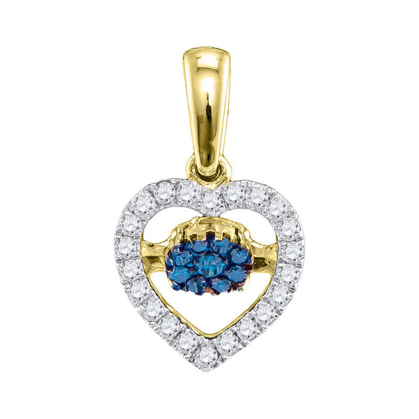10kt Yellow Gold Womens Round Blue Color Enhanced Diamond Moving Twinkle Heart Pendant 1/6 Cttw
