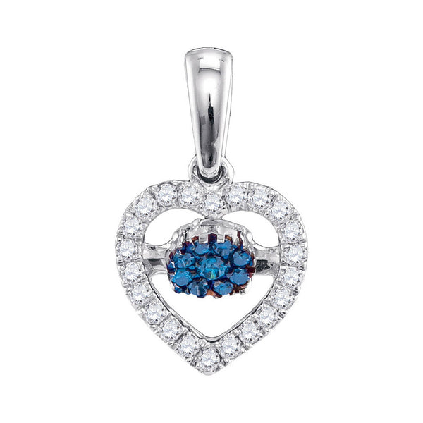 10kt White Gold Womens Round Blue Color Enhanced Diamond Moving Twinkle Heart Pendant 1/6 Cttw