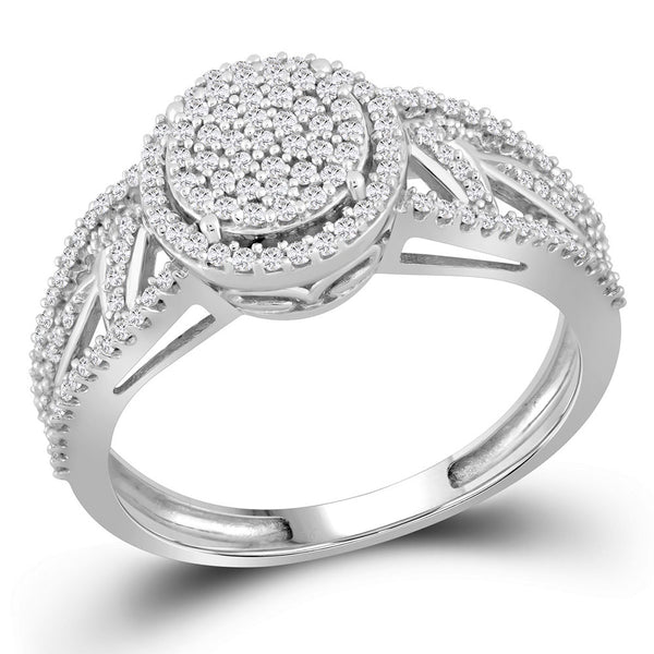 10kt White Gold Womens Round Diamond Circle Cluster Ring 3/8 Cttw
